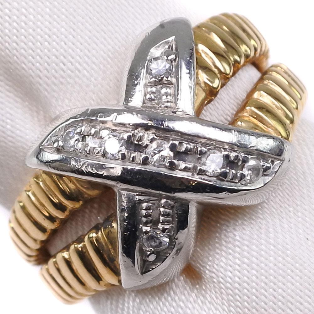クロス K18ゴールド×Pt900プラチナ×ダイヤモンド 11号 D 0.07刻印 レディース リング・指輪【中古】SAランク