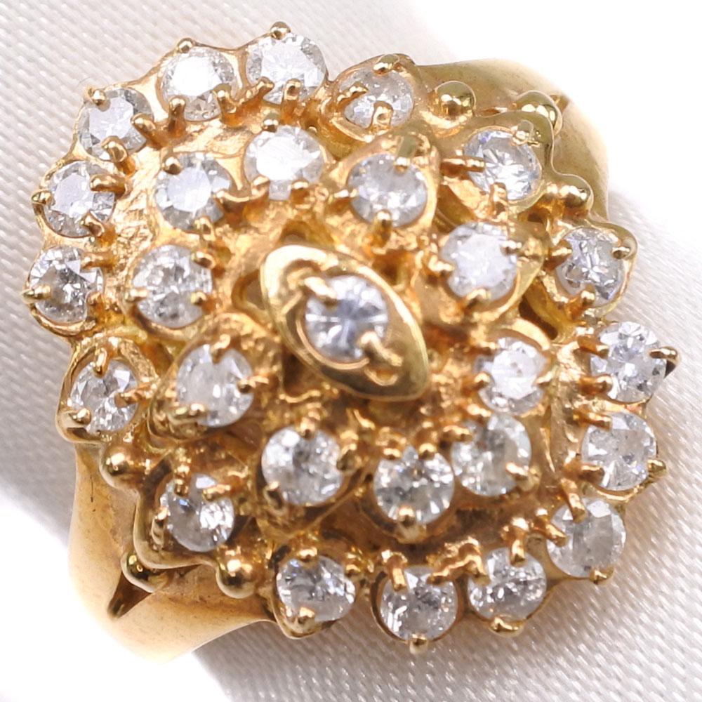 K18ゴールド×ダイヤモンド 9号 D 0.6刻印 レディース リング・指輪【中古】SAランク