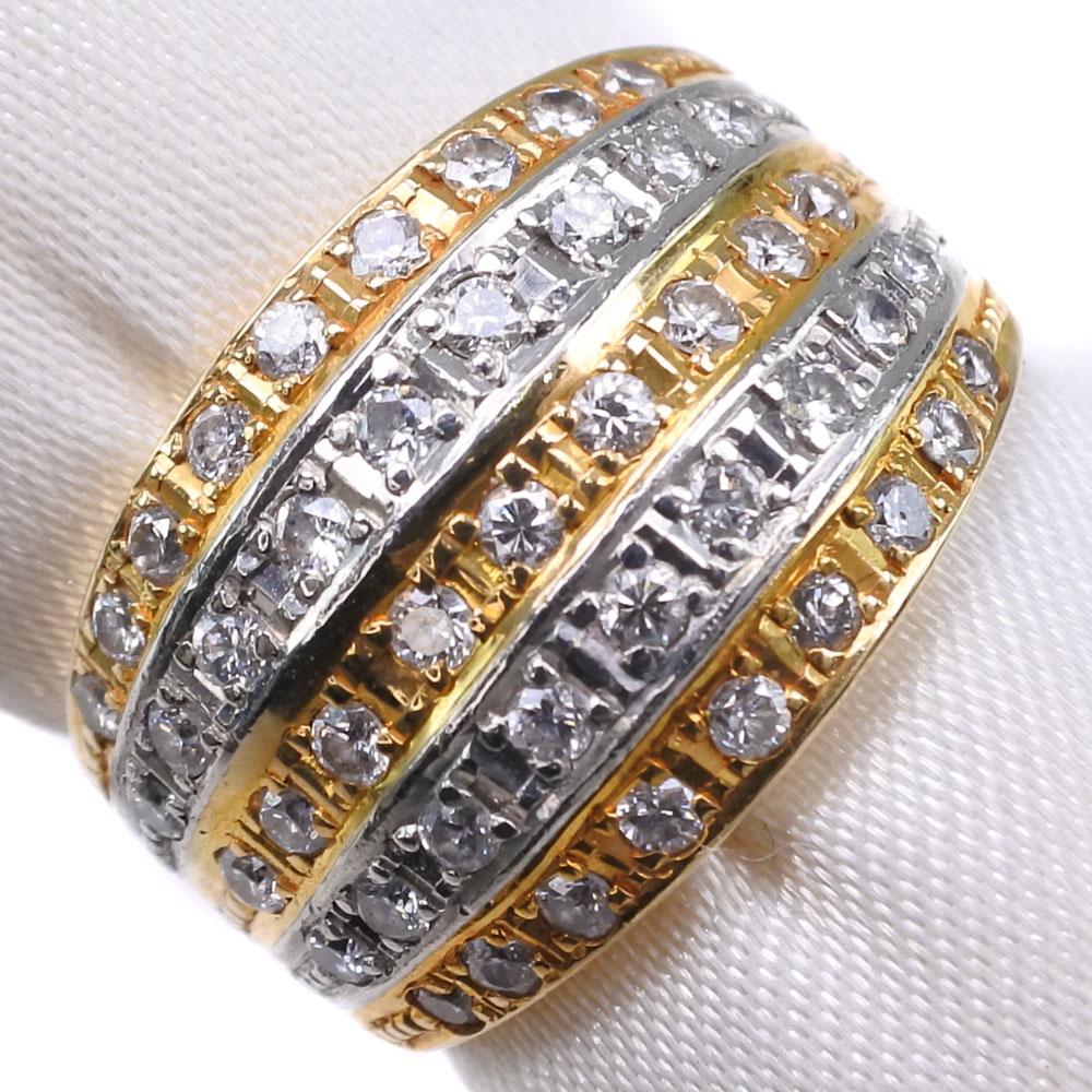K18ゴールド×Pt900プラチナ×ダイヤモンド 7号 D 0.53刻印 レディース リング・指輪【中古】SAランク