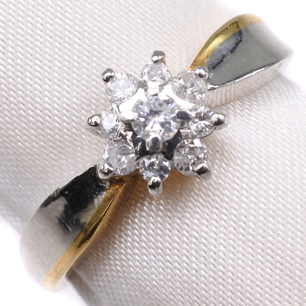 K18ゴールド×Pt900プラチナ×ダイヤモンド 13号 D 0.22刻印 レディース リング・指輪【中古】SAランク