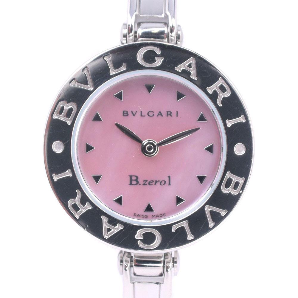 【BVLGARI】ブルガリ ビーゼロワン Bzero1 BZ22S ステンレススチール シルバー クオーツ レディース ピンクシェル文字盤 腕時計【中古】A-ランク