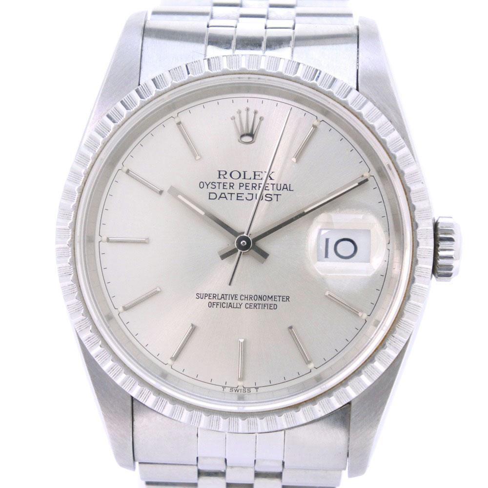 【ROLEX】ロレックス デイトジャスト バーインデックス 16200 ステンレススチール 自動巻き メンズ シルバー文字盤 腕時計【中古】Aランク