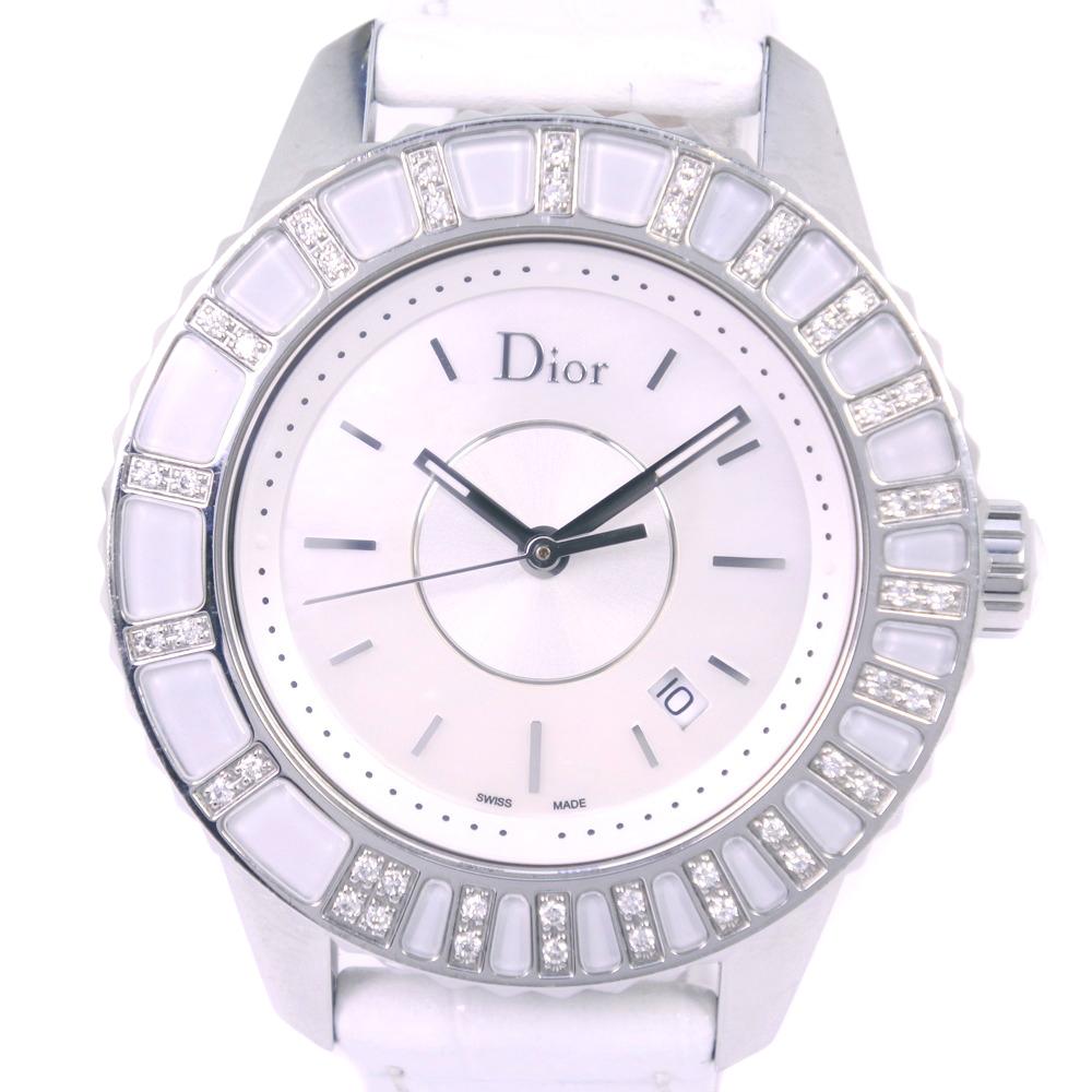 【Christian Dior】クリスチャンディオール クリスタル ダイヤベゼル CD113112-V ステンレススチール×レザー ホワイト クオーツ レディース シェル文字盤 腕時計【中古】Aランク
