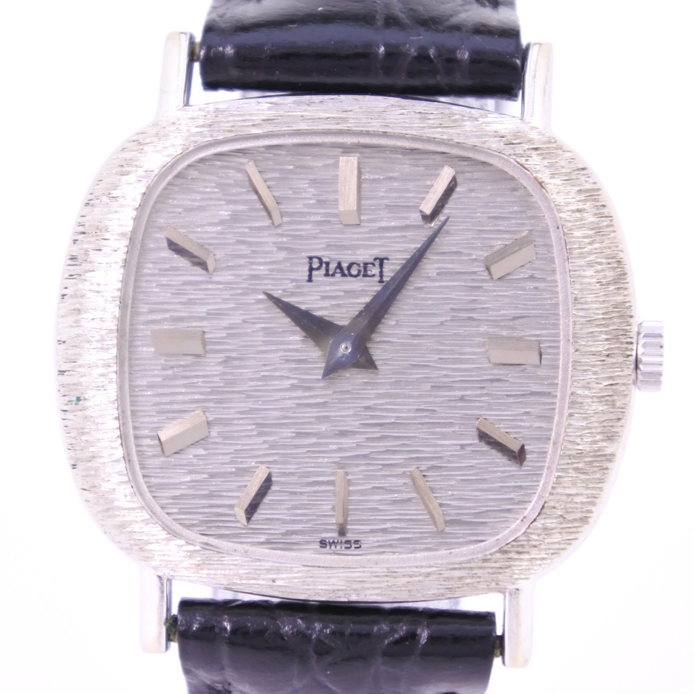 【PIAGET】ピアジェ 9451 K18ホワイトゴールド×レザー ブラック 手巻き レディース シルバー文字盤 腕時計【中古】Aランク