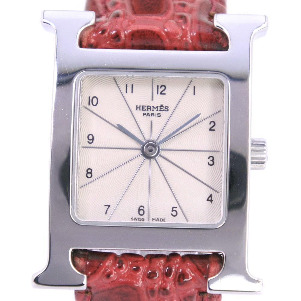 【HERMES】エルメス Hウォッチ HH1.210 ステンレススチール シルバー クオーツ レディース シルバー文字盤 腕時計【中古】Aランク