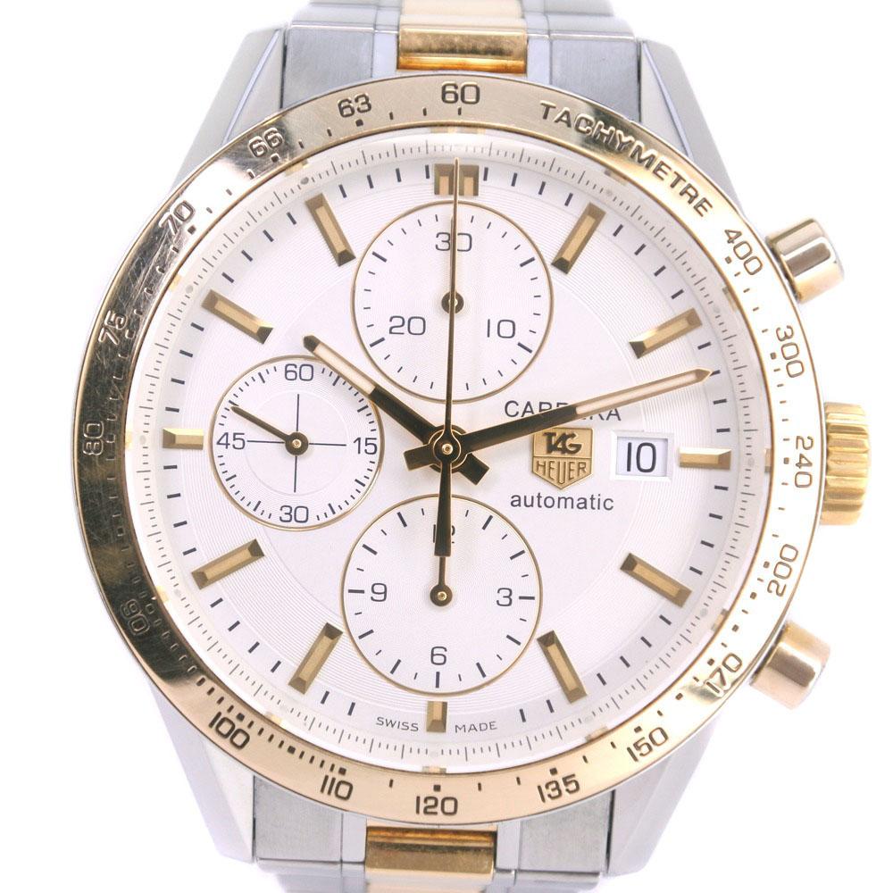 【TAG HEUER】タグホイヤー カレラ cal.16 クロノグラフ CV2050 K18イエローゴールド×ステンレススチール ゴールド 自動巻き メンズ 白文字盤 腕時計【中古】A-ランク