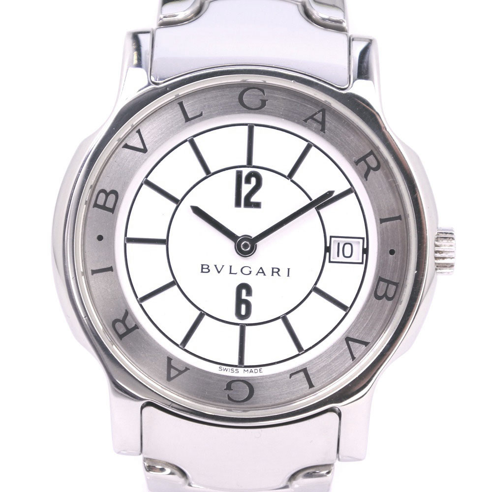 【BVLGARI】ブルガリ ソロテンポ ST35S ステンレススチール シルバー クオーツ メンズ 白文字盤 腕時計【中古】A-ランク