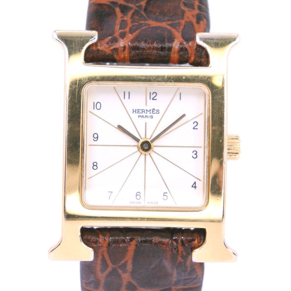 【HERMES】エルメス Hウォッチ HH1.201 ステンレススチール×レザー ゴールド クオーツ レディース 白文字盤 腕時計【中古】