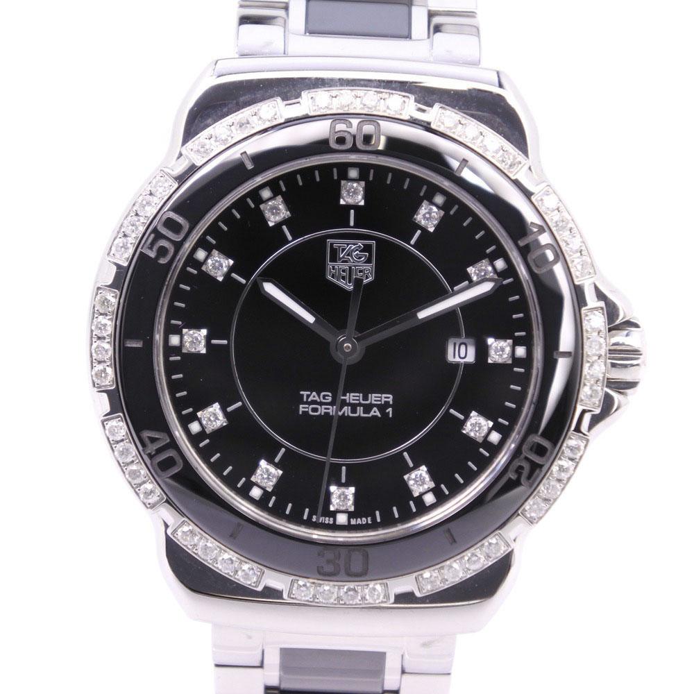 【TAG HEUER】タグホイヤー フォーミュラ1 F1 レディ ダイヤモンド WAH1312.BA0867 ステンレススチール シルバー クオーツ レディース 黒文字盤 腕時計【中古】Aランク