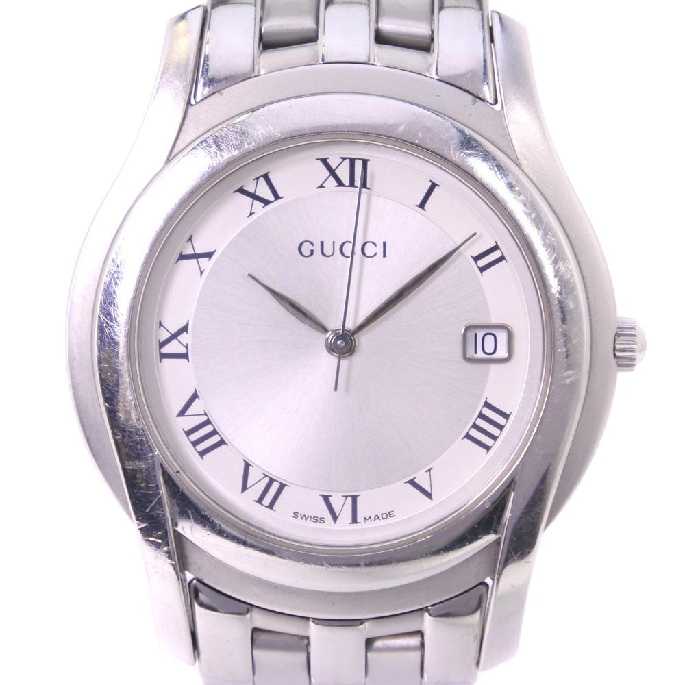 【GUCCI】グッチ 5500M ステンレススチール クオーツ メンズ シルバー文字盤 腕時計【中古】