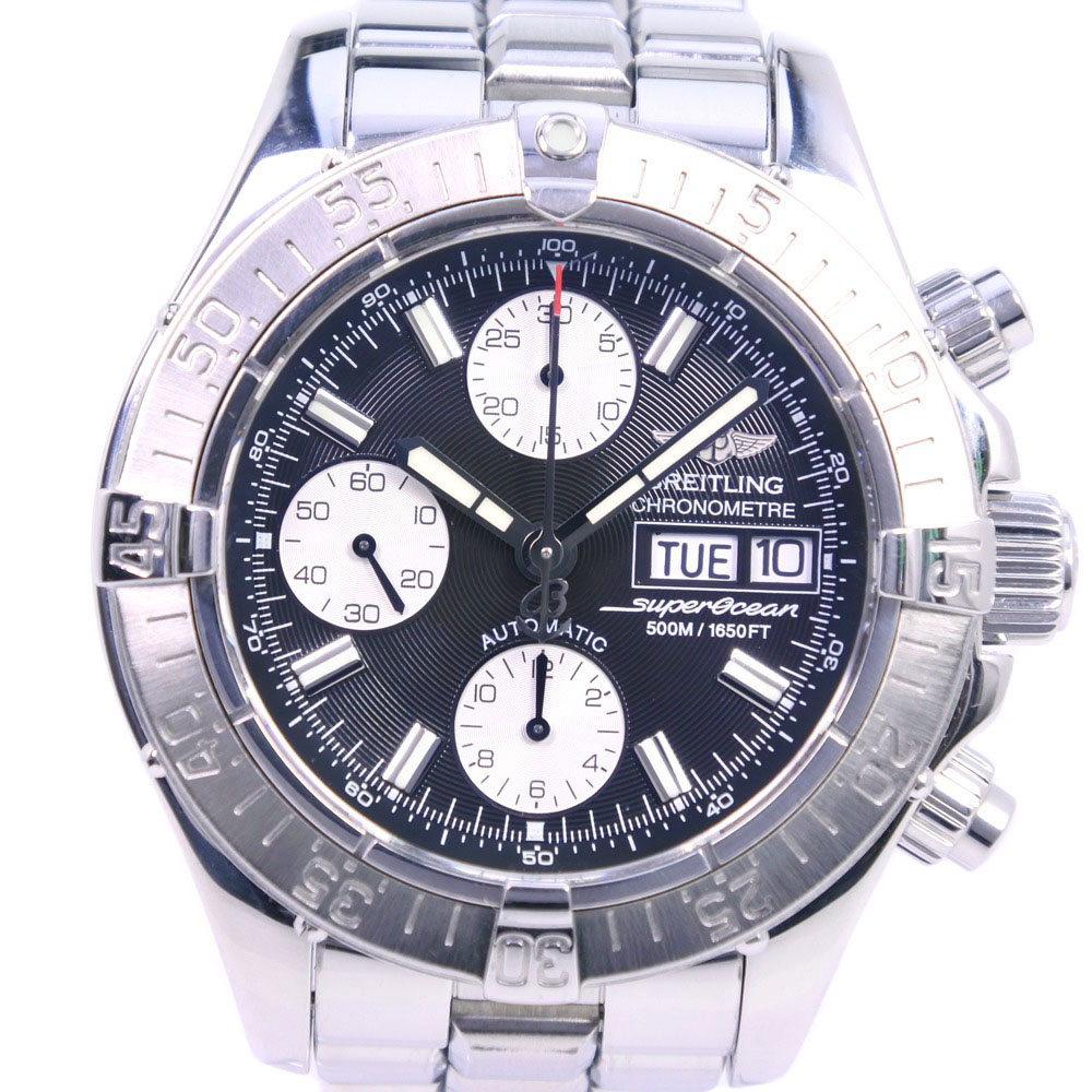 【BREITLING】ブライトリング スーパーオーシャン A13340 ステンレススチール シルバー 自動巻き メンズ 黒文字盤 腕時計【中古】Aランク