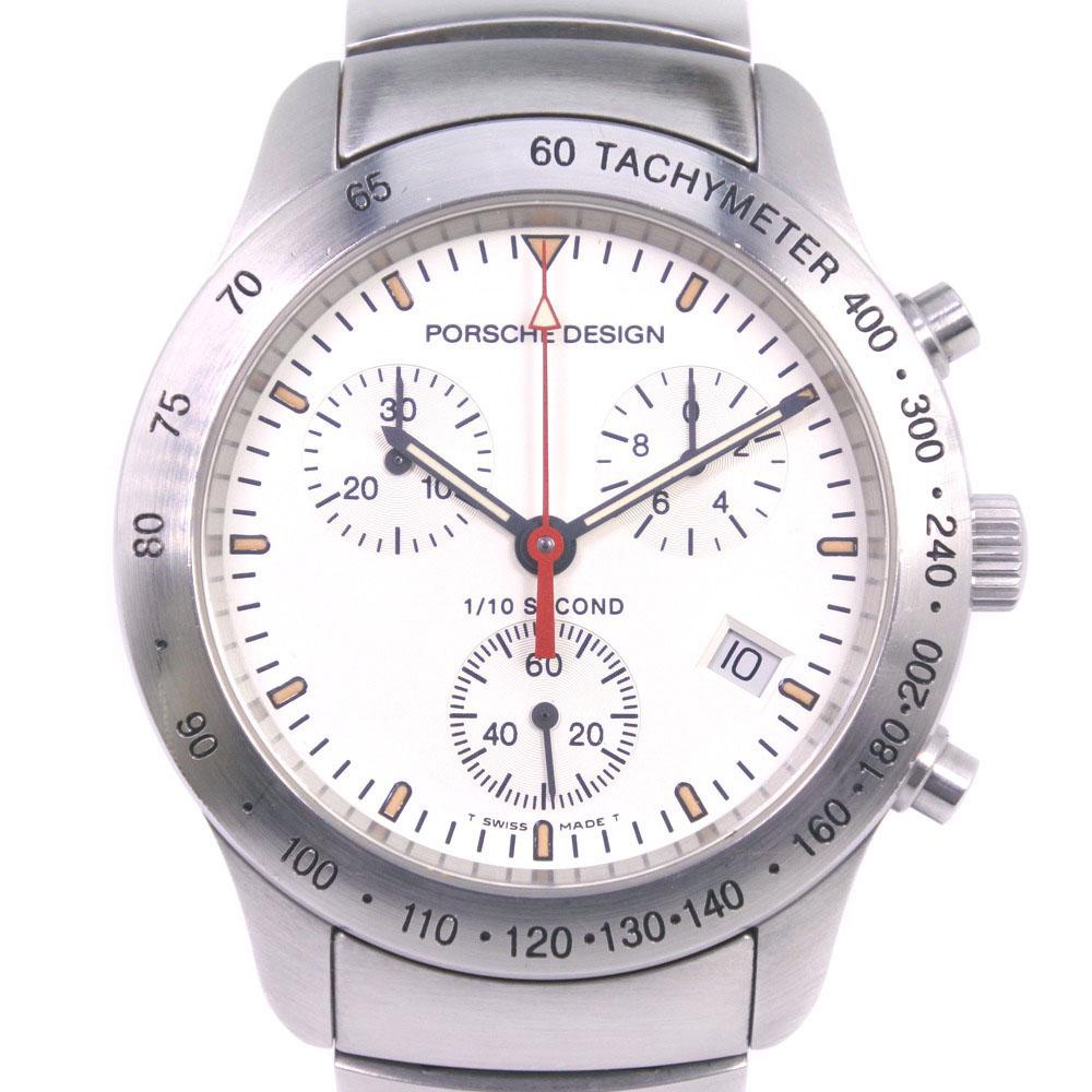 【Porsche Design】ポルシェデザイン by エテルナ クロノグラフ 6600.41.10 ステンレススチール クオーツ メンズ シルバー文字盤 腕時計【中古】A-ランク