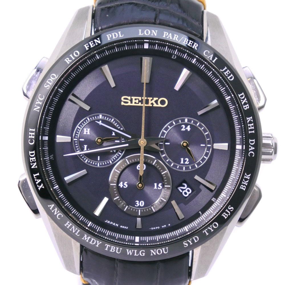 【SEIKO】セイコー ブライツ フライトエキスパート ワールドタイム 8B92-0AP0 SAGA221 ステンレススチール×レザー シルバー ソーラー電波時計 メンズ 黒文字盤 腕時計【中古】Aランク