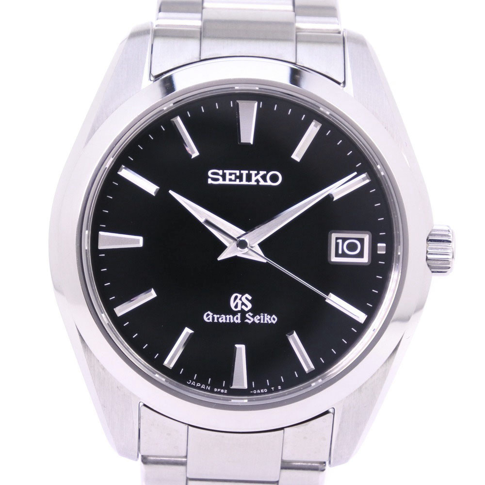 【SEIKO】セイコー グランドセイコー 9F82-0AF0 SBGV023 ステンレススチール シルバー クオーツ メンズ 黒文字盤 腕時計【中古】A+ランク