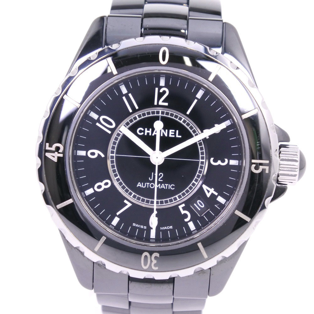 【CHANEL】シャネル J12 H0685 セラミック 自動巻き メンズ 黒文字盤 腕時計【中古】A-ランク
