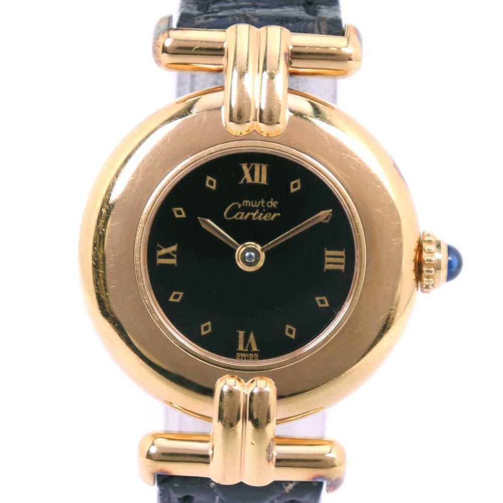 【CARTIER】カルティエ マストヴェルメイユ 590002 シルバー925×レザー ゴールド クオーツ レディース 黒文字盤 腕時計【中古】