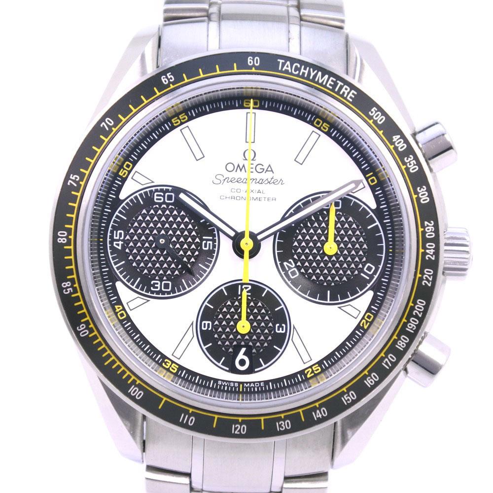 【OMEGA】オメガ スピードマスター レーシング クロノメーター 100M 326.30.40.50.04.001 ステンレススチール ブラック 自動巻き メンズ 白文字盤 腕時計【中古】Aランク