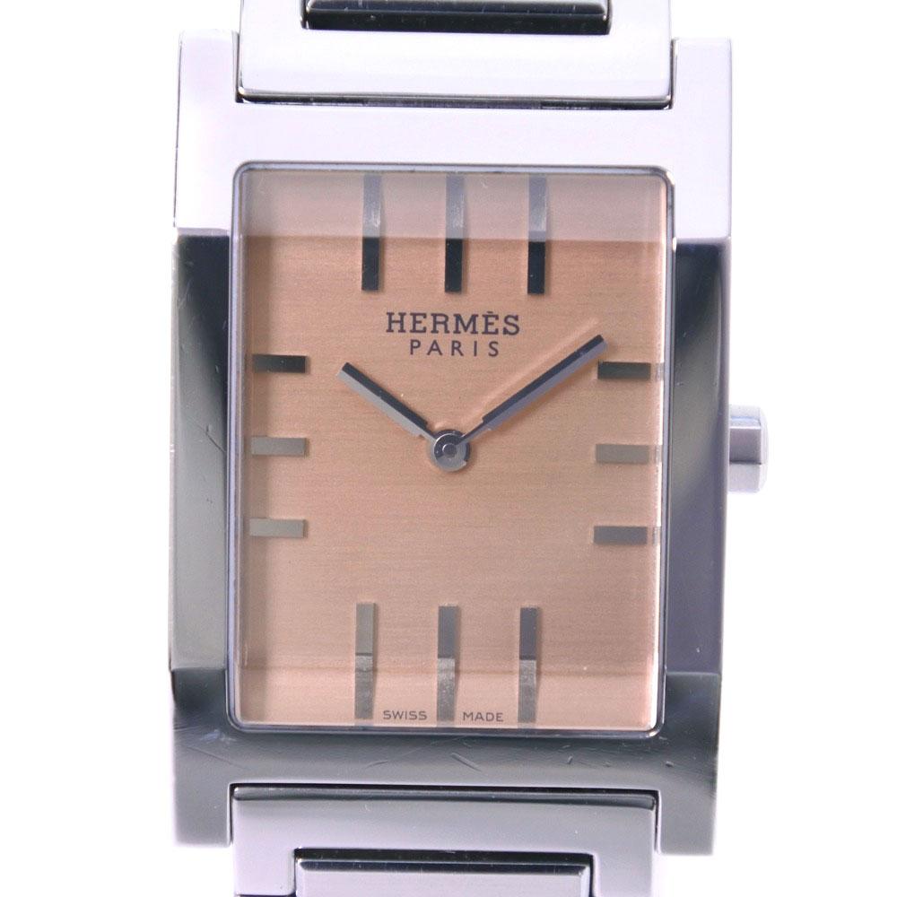 【HERMES】エルメス タンデム TA1.710 ステンレススチール シルバー クオーツ メンズ ゴールド文字盤 腕時計【中古】A-ランク