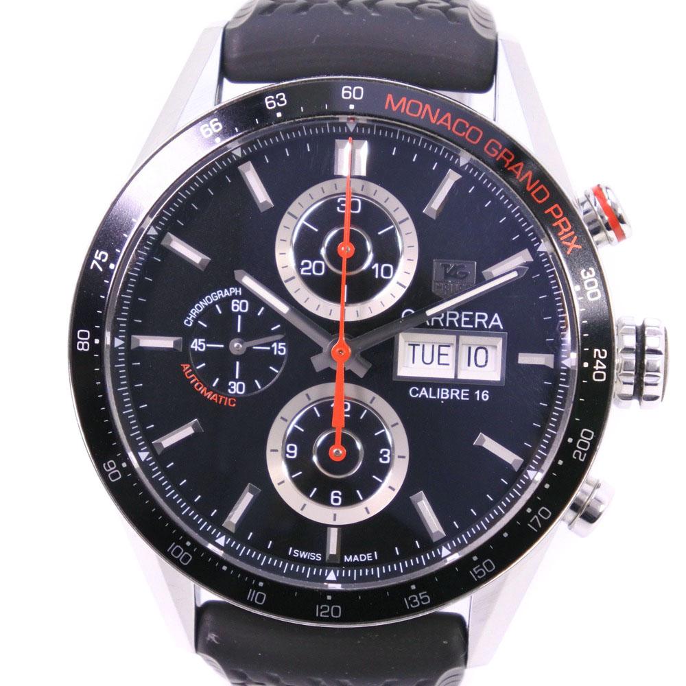 【TAG HEUER】タグホイヤー カレラ クロノグラフ モナコGP 3000本限定 CV2A1F.FT6033 ステンレススチール×ラバー レッド 自動巻き メンズ 黒文字盤 腕時計【中古】Aランク