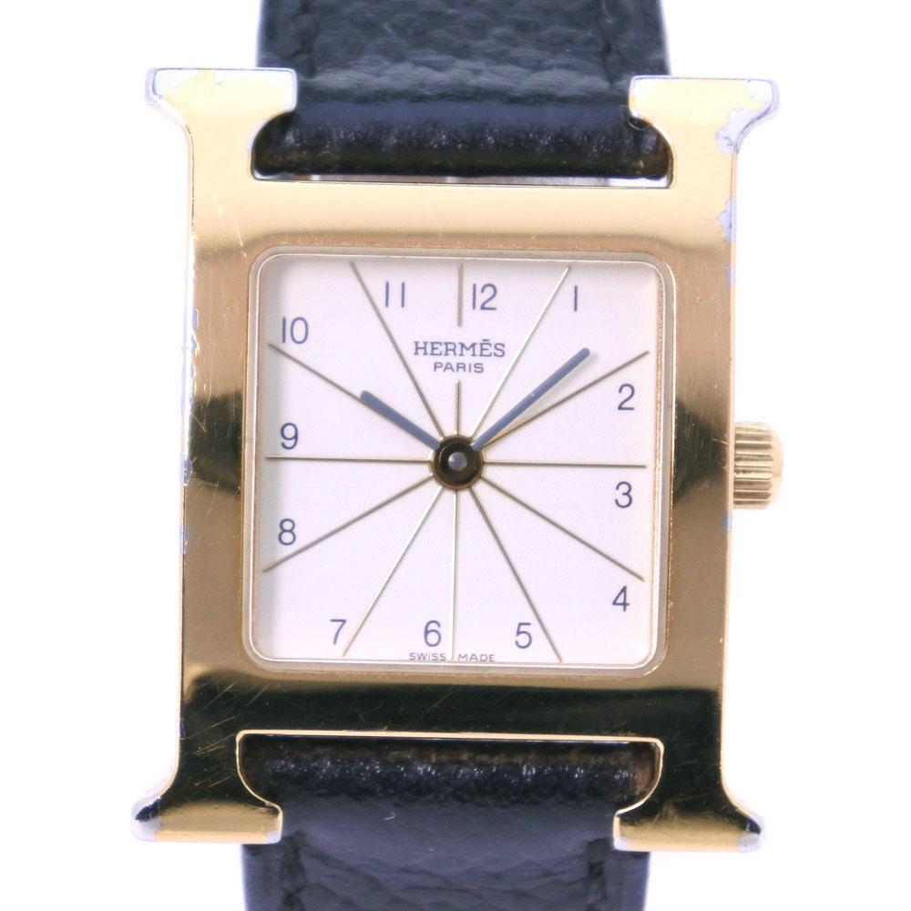 【HERMES】エルメス Hウォッチ HH1.201 GP×レザー ゴールド □D刻印 クオーツ レディース 白文字盤 腕時計【中古】