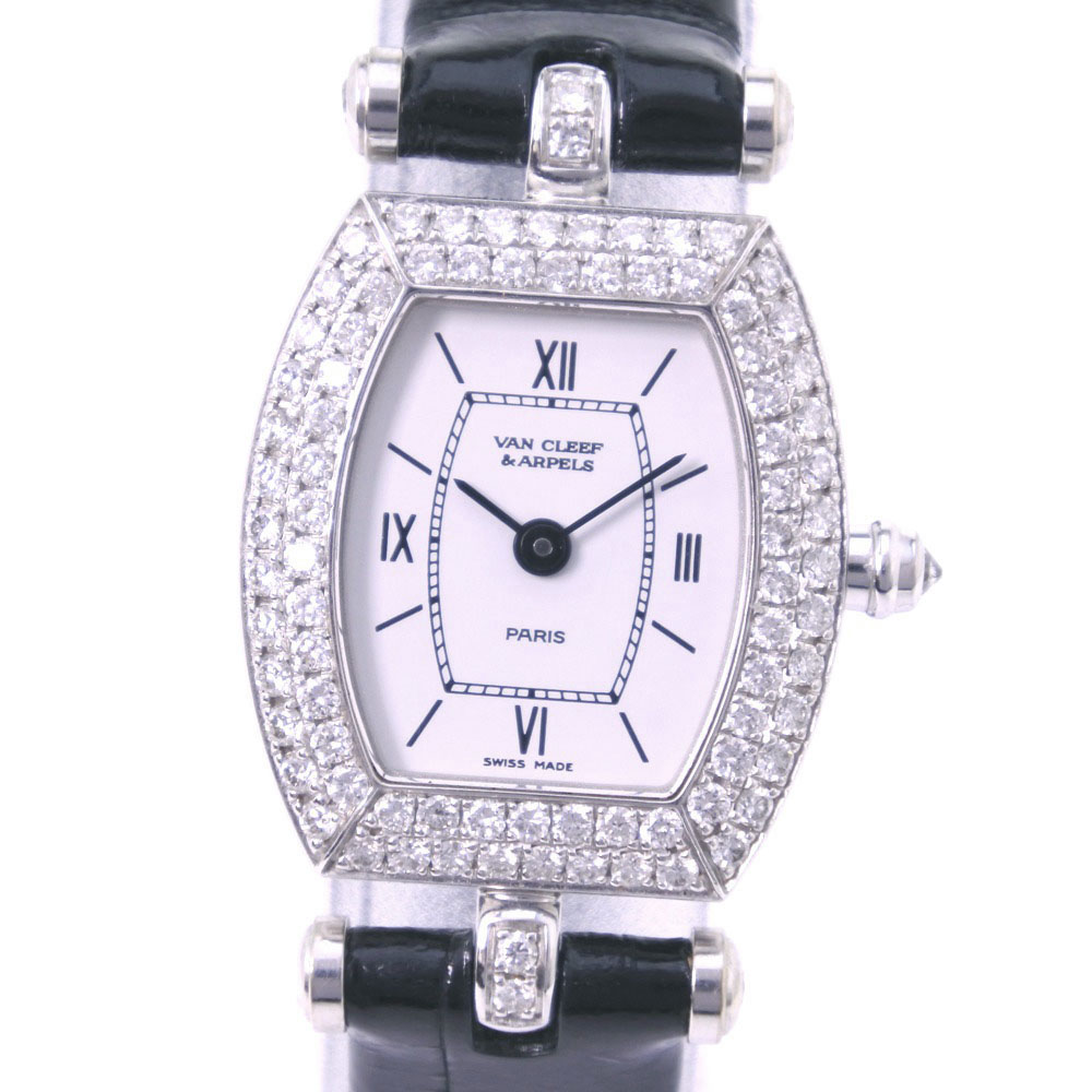 【Van Cleef & Arpels】ヴァンクリーフ&アーペル ベゼルダイヤ 322968 B2 K18ホワイトゴールド×レザー クオーツ レディース 白文字盤 腕時計【中古】A-ランク