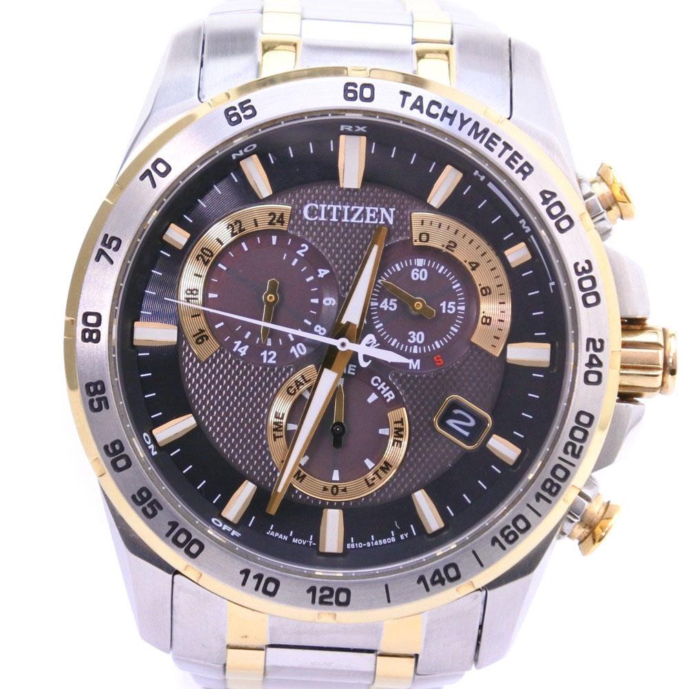 【CITIZEN】シチズン エコドライブ E610-S104840 ステンレススチール ゴールド ソーラー電波時計 メンズ 黒文字盤 腕時計【中古】