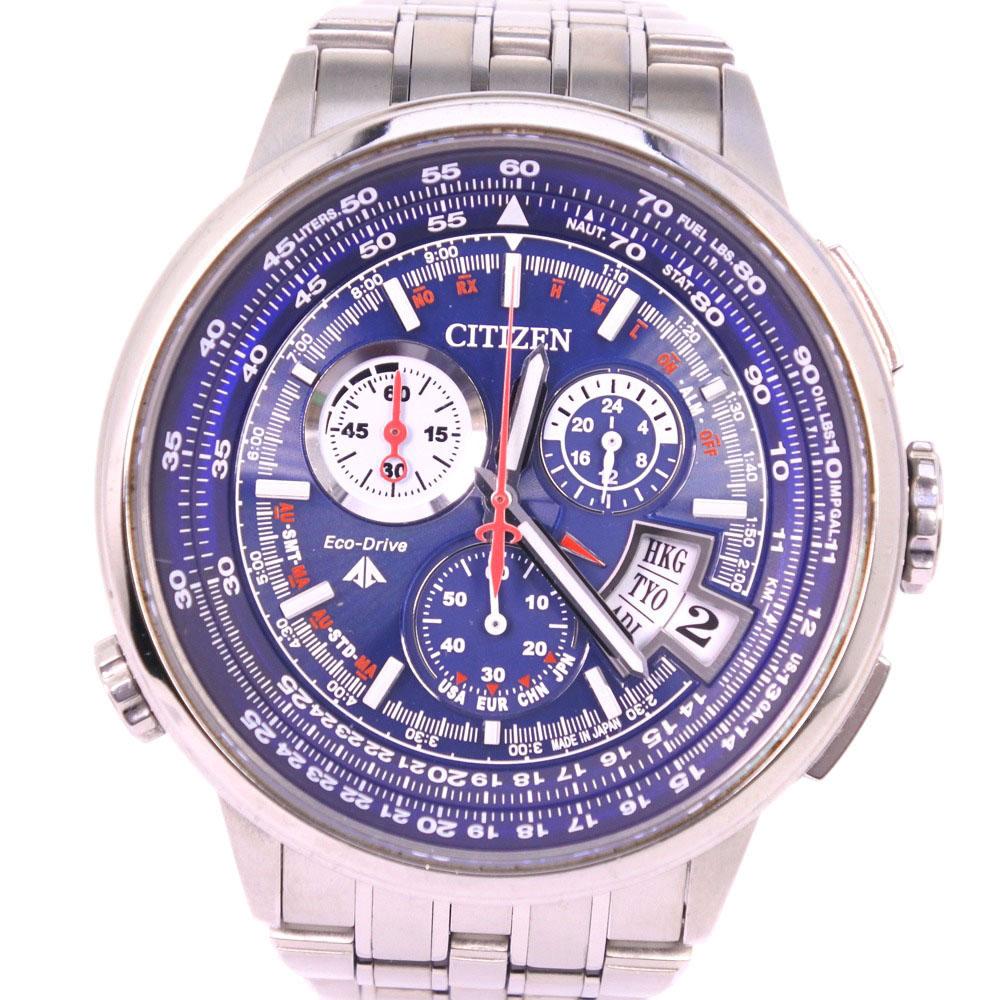 【CITIZEN】シチズン プロマスター エコドライブ H610-T015212 PMD56-3021 チタン ソーラー電波時計 メンズ ネイビー文字盤 腕時計【中古】A-ランク