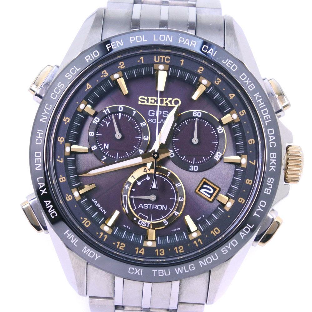 【SEIKO】セイコー アストロン 8X82-0AB0 SBXB007 チタン シルバー ソーラー電波時計 メンズ 黒文字盤 腕時計【中古】A-ランク