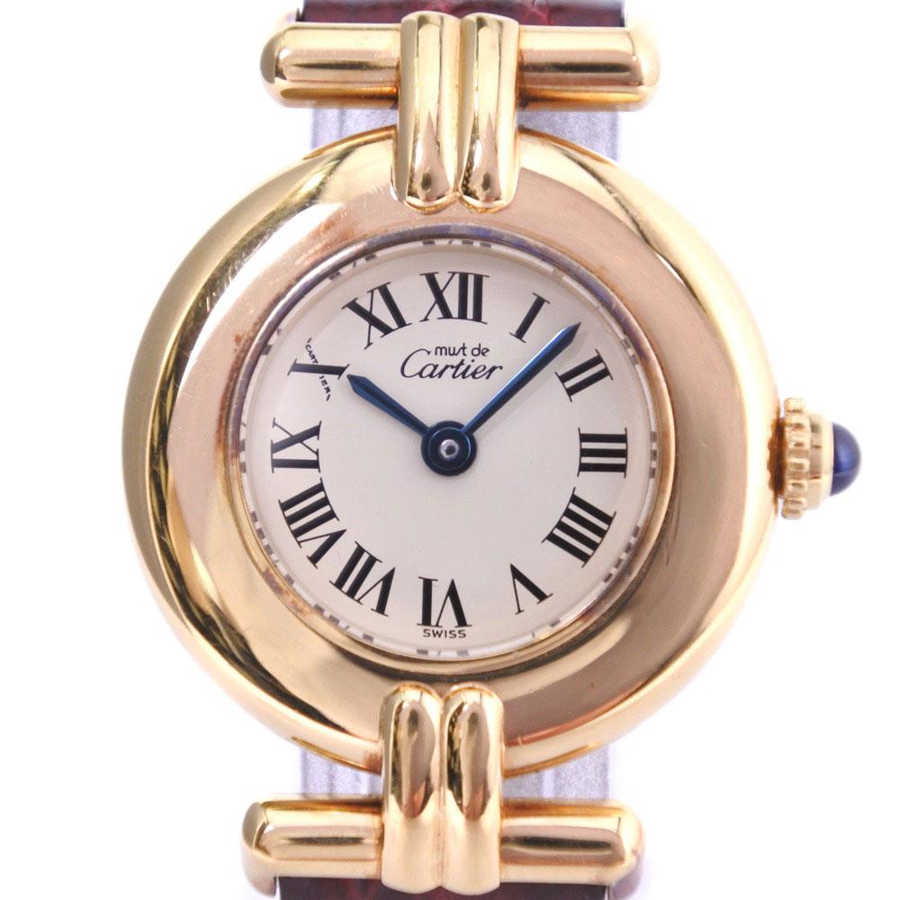【CARTIER】カルティエ マストヴェルメイユ 590002 シルバー925×レザー ゴールド クオーツ レディース クリーム文字盤 腕時計【中古】