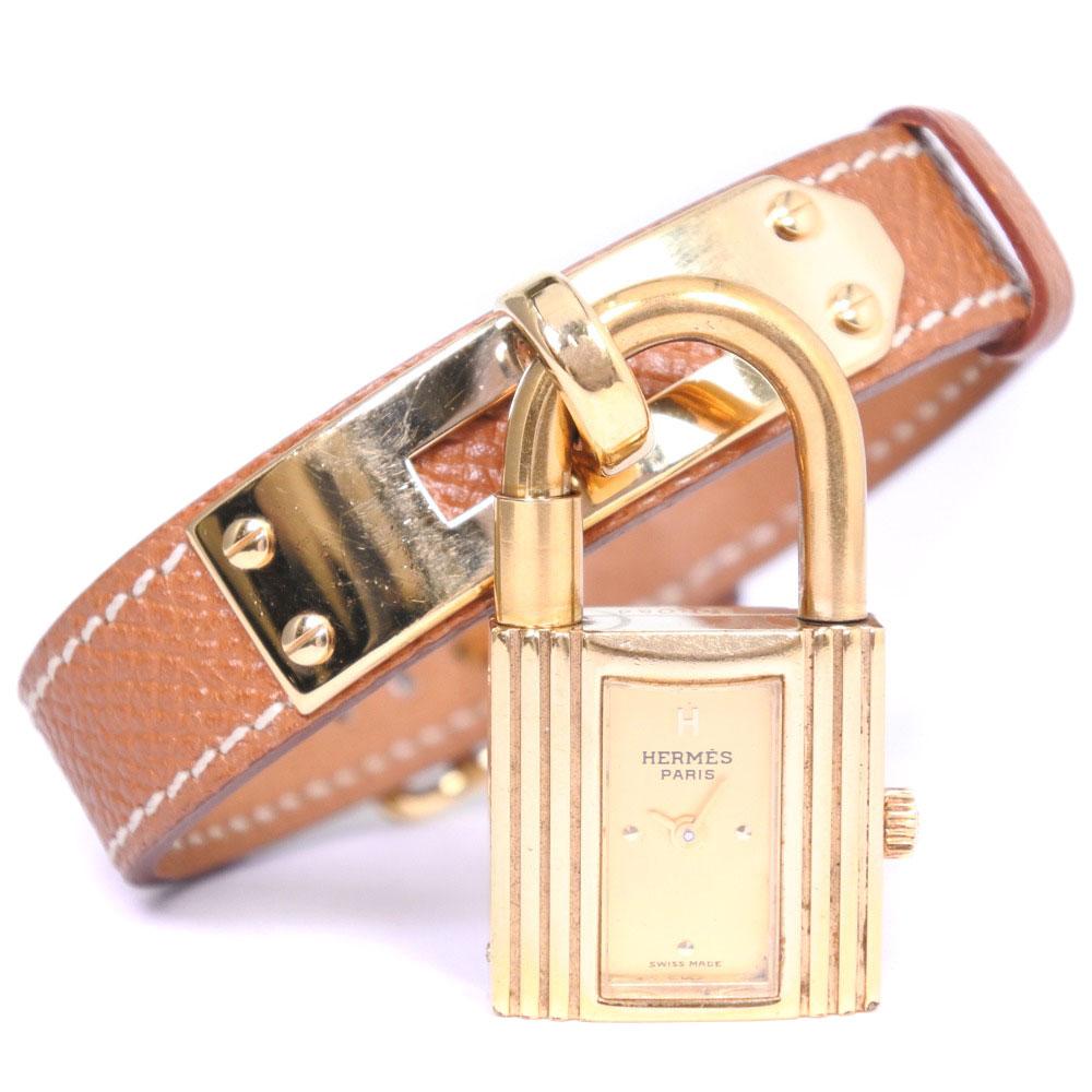 【HERMES】エルメス ケリーウォッチ GP×レザー □B刻印 クオーツ レディース ゴールド文字盤 腕時計【中古】