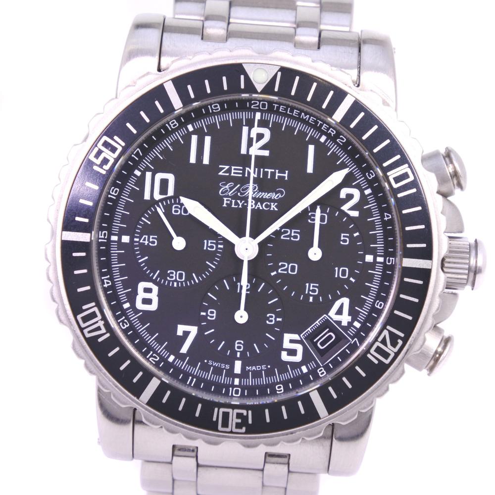 【ZENITH】ゼニス レインボー フライバック 02.0470.405/25 ステンレススチール シルバー 自動巻き メンズ 黒文字盤 腕時計【中古】Aランク