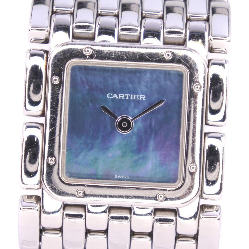 【CARTIER】カルティエ リュバン SBLL007 ステンレススチール クオーツ レディース ブルーシェル文字盤 腕時計【中古】