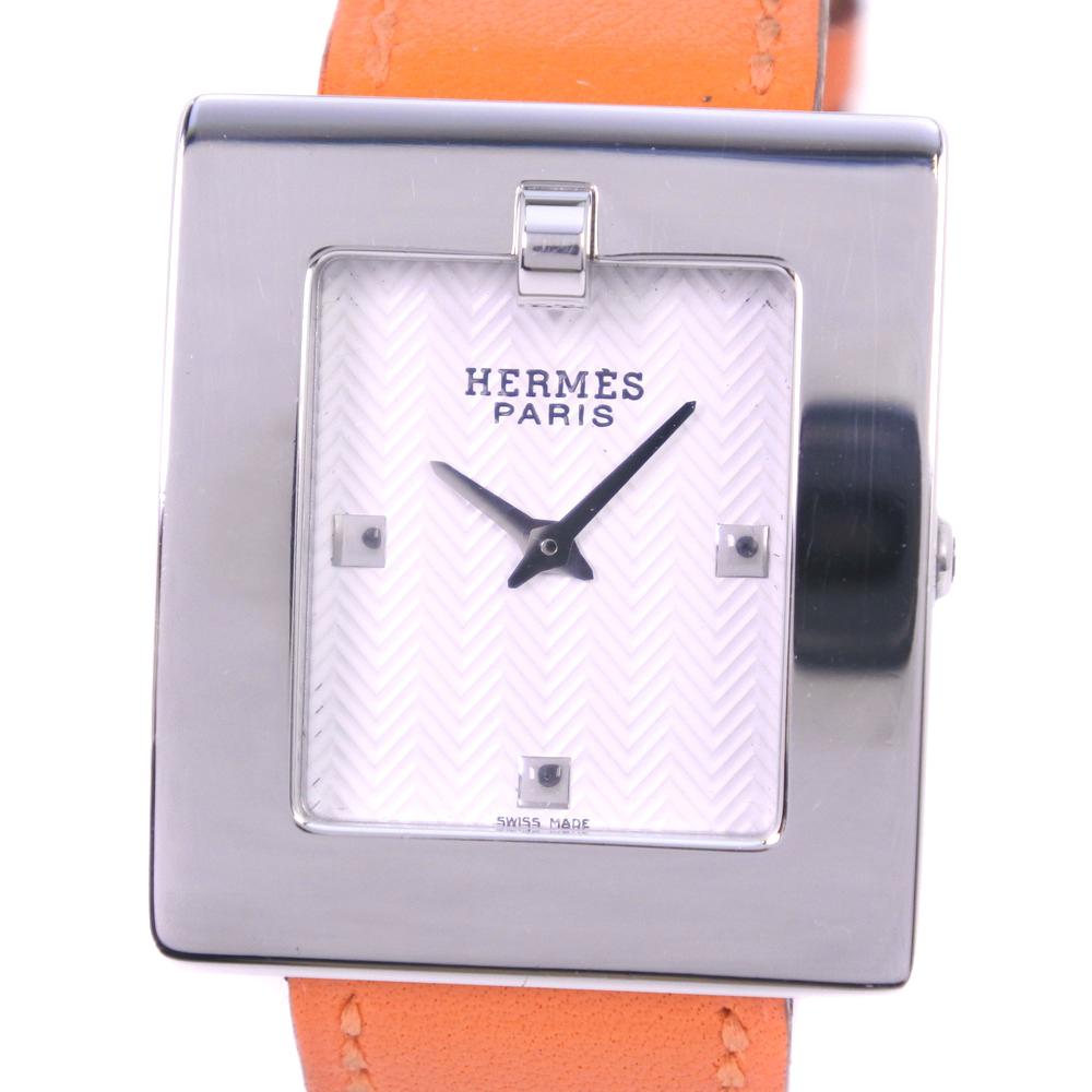 【HERMES】エルメス ベルトウォッチ BE1.210 ステンレススチール×レザー □D刻印 クオーツ レディース シルバー文字盤 腕時計【中古】Aランク