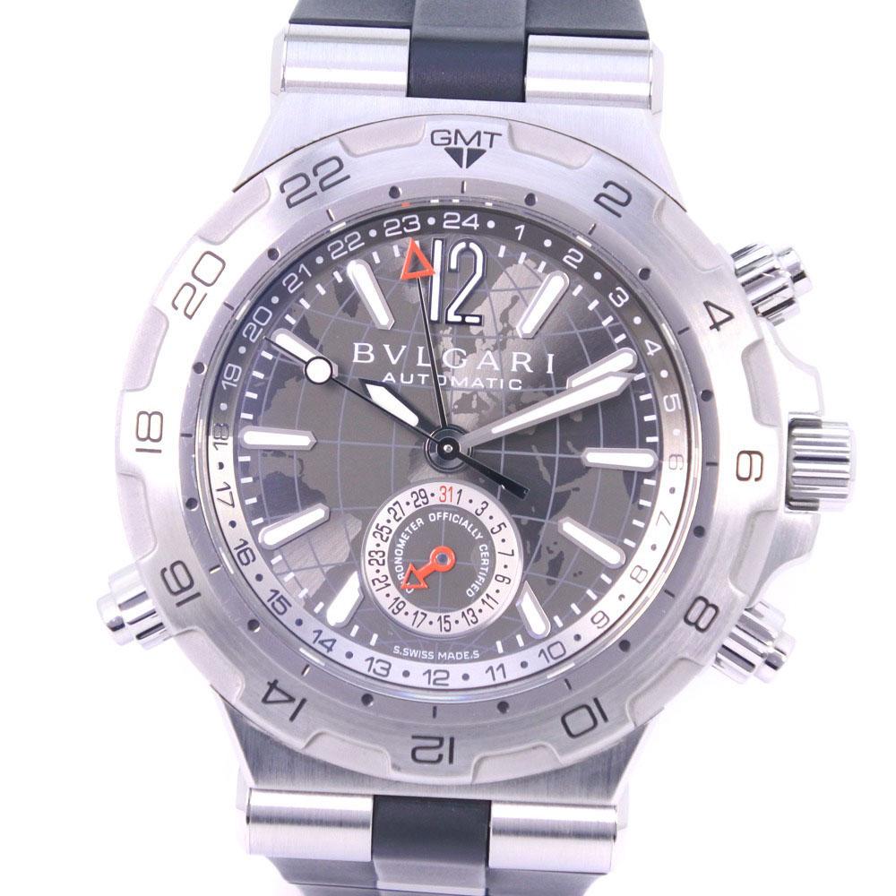【BVLGARI】ブルガリ ディアゴノ GMT DP42S ステンレススチール×ラバー 自動巻き メンズ グレー文字盤 腕時計【中古】Aランク