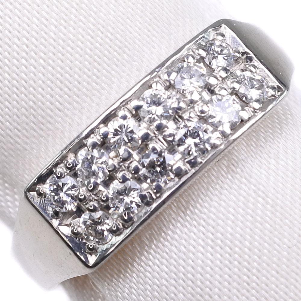 Pt850プラチナ×ダイヤモンド 14号 D 0.31刻印 レディース リング・指輪【中古】SAランク