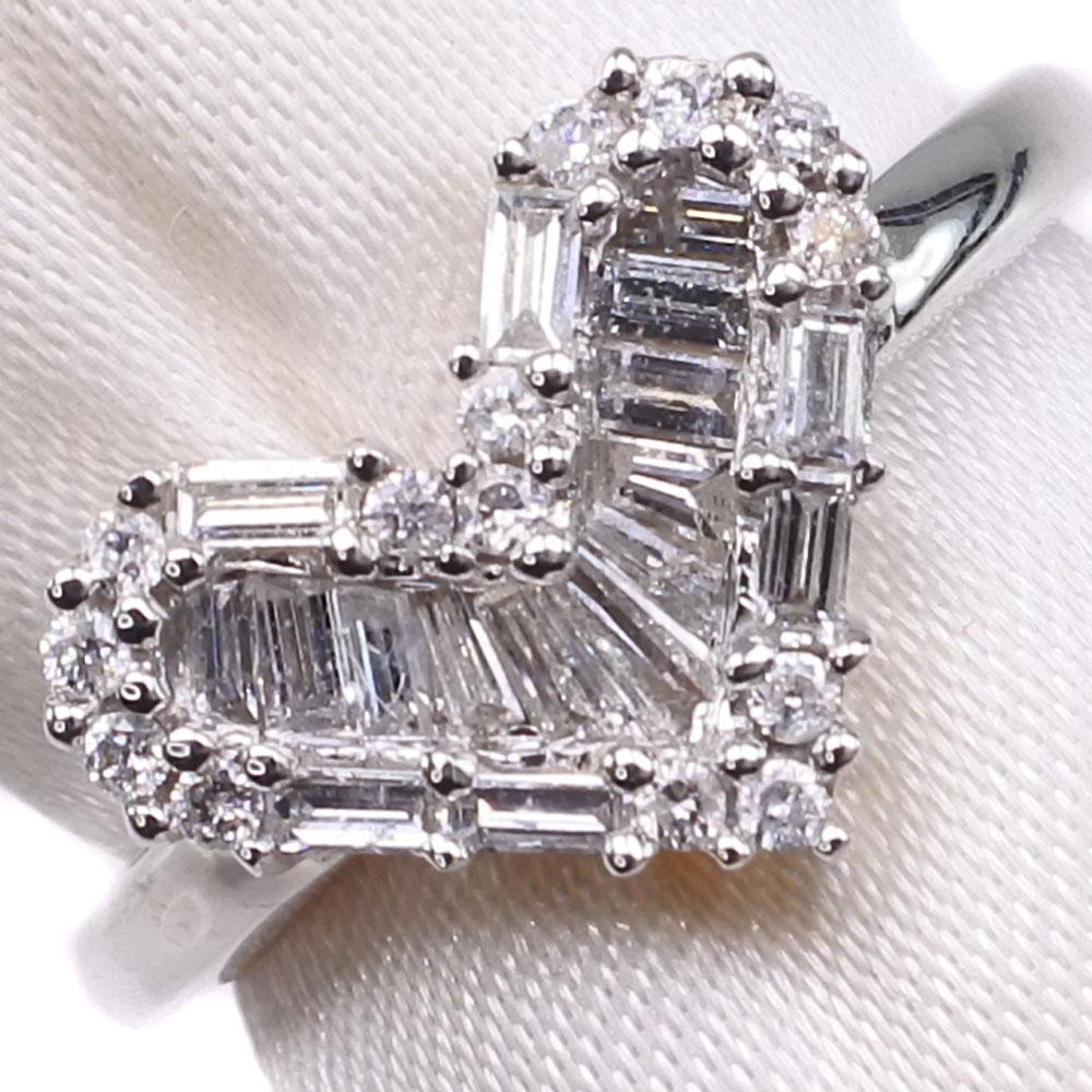 ハート K18ホワイトゴールド×ダイヤモンド 6.5号 D 0.40刻印 レディース リング・指輪【中古】SAランク