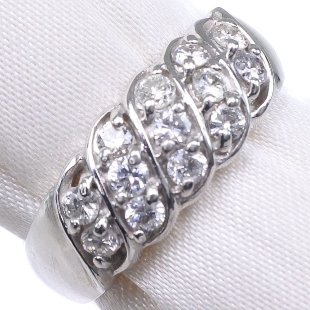 Pt900プラチナ×ダイヤモンド 12号 D 0.50刻印 レディース リング・指輪【中古】SAランク