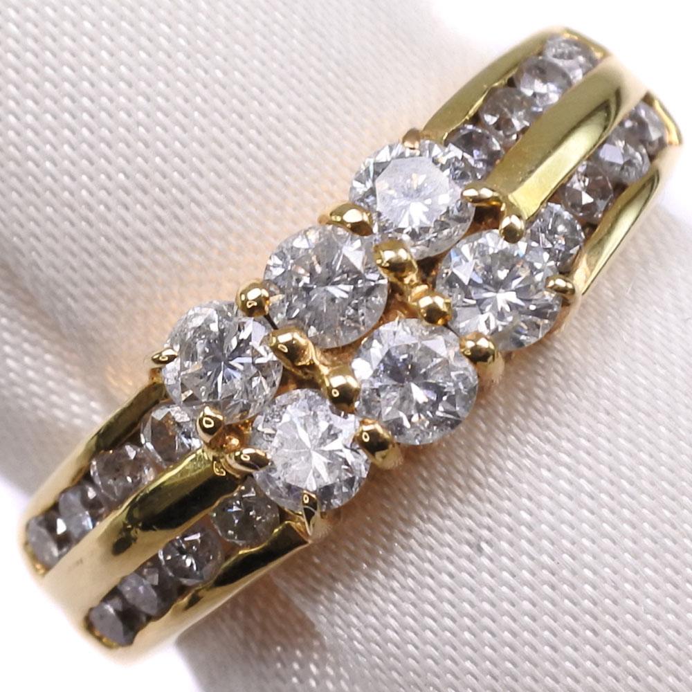 K18ゴールド×ダイヤモンド 13号 D 1.03刻印 レディース リング・指輪【中古】SAランク