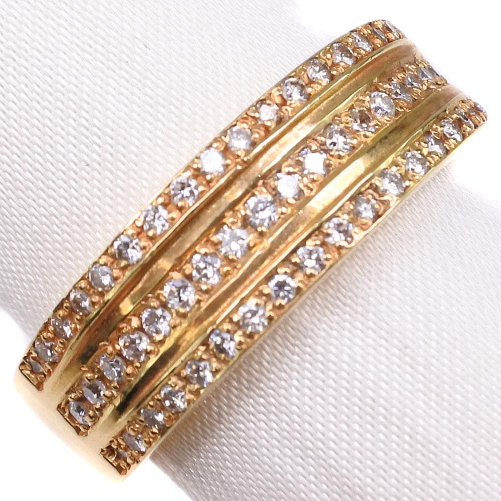 K18ゴールド×ダイヤモンド 16.5号 D 0.46刻印 レディース リング・指輪【中古】SAランク
