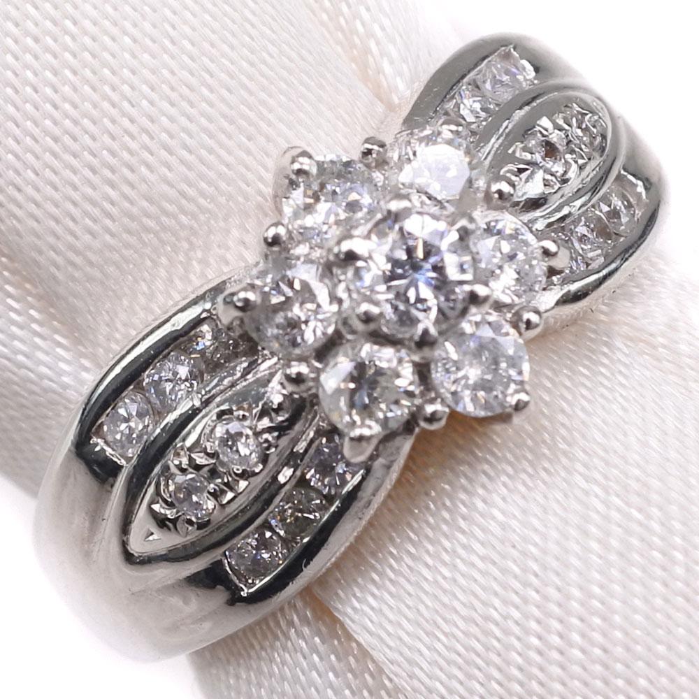 Pt900プラチナ×ダイヤモンド 7号 D 0.51刻印 レディース リング・指輪【中古】SAランク