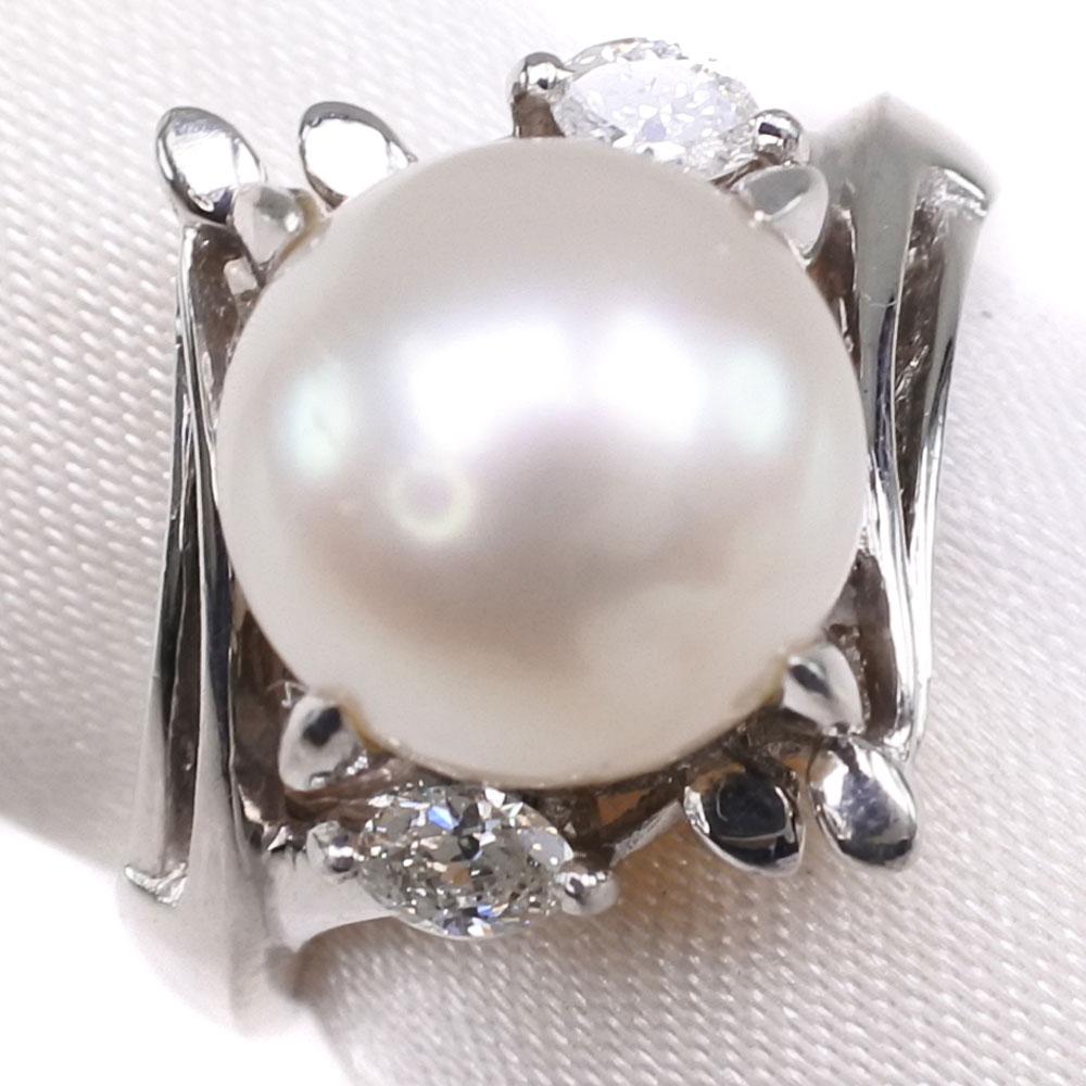 真珠 ダイヤモンド 9mm パール×Pt900プラチナ 12号 0.13刻印 レディース リング・指輪【中古】SAランク
