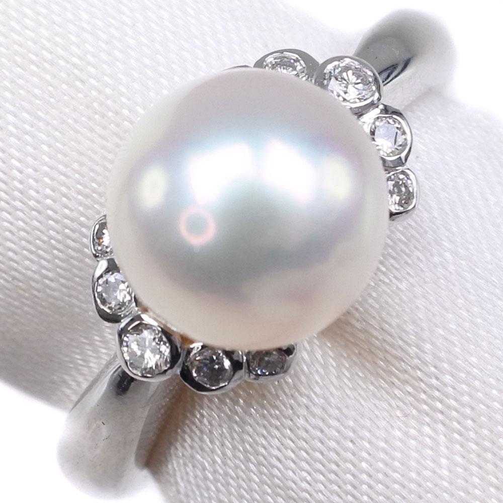 真珠 ダイヤモンド 8mm パール×Pt900プラチナ 9.5号 レディース リング・指輪【中古】SAランク