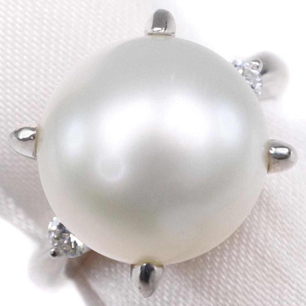 真珠 ダイヤモンド 11mm パール×Pt900プラチナ 10号 0.11刻印 レディース リング・指輪【中古】SAランク