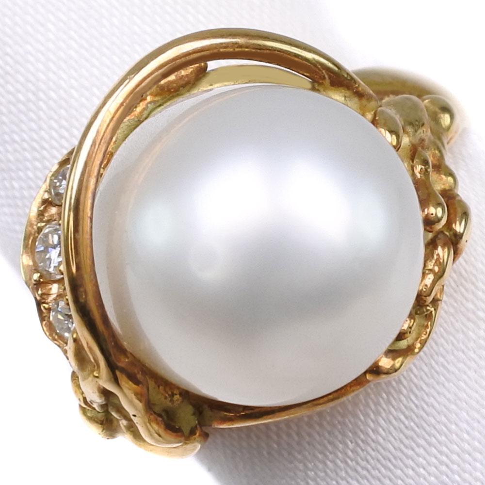 真珠 ダイヤモンド 11.5mm パール×K18イエローゴールド 12号 レディース リング・指輪【中古】SAランク