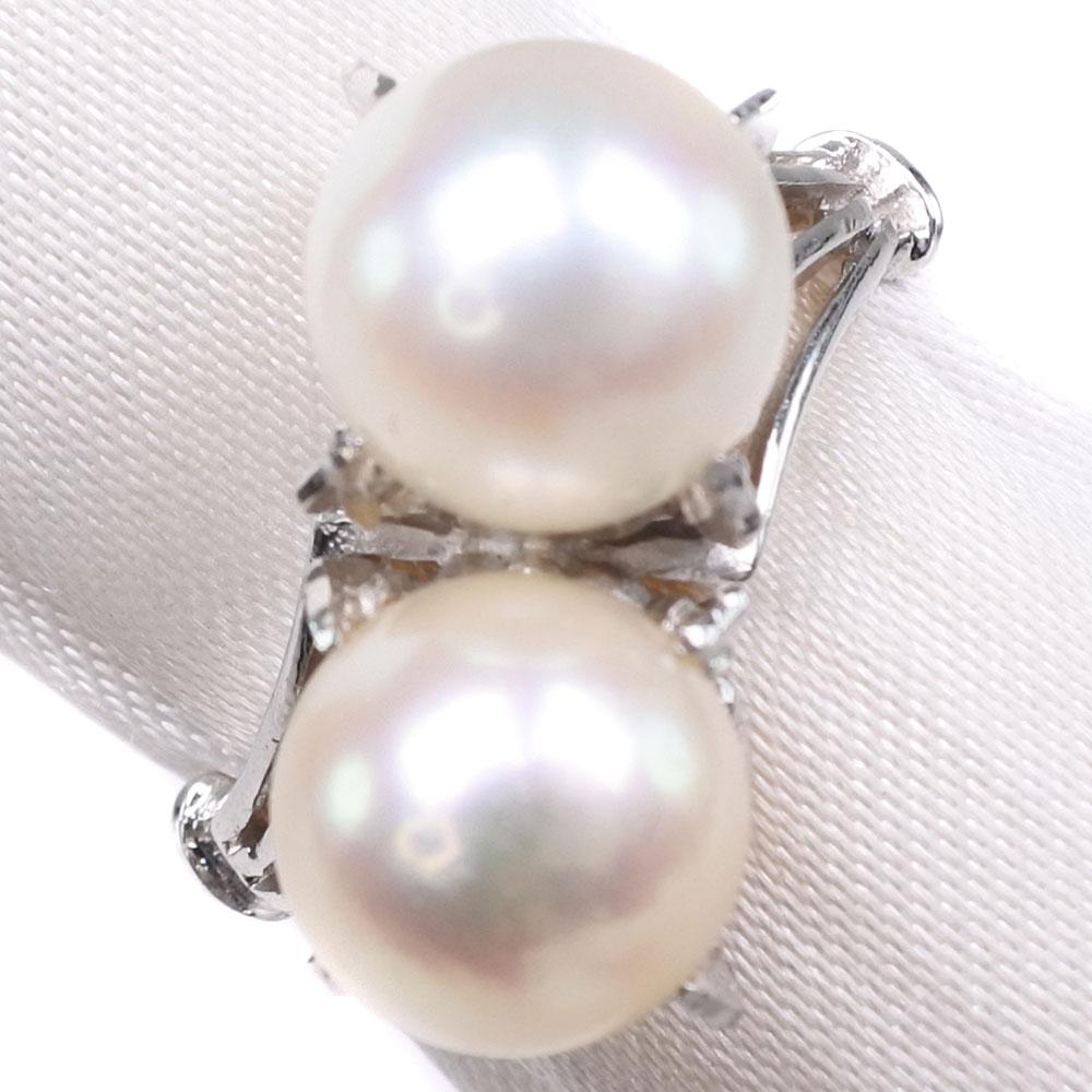 真珠 7.5mm パール×K14ホワイトゴールド 12号 レディース リング・指輪【中古】SAランク