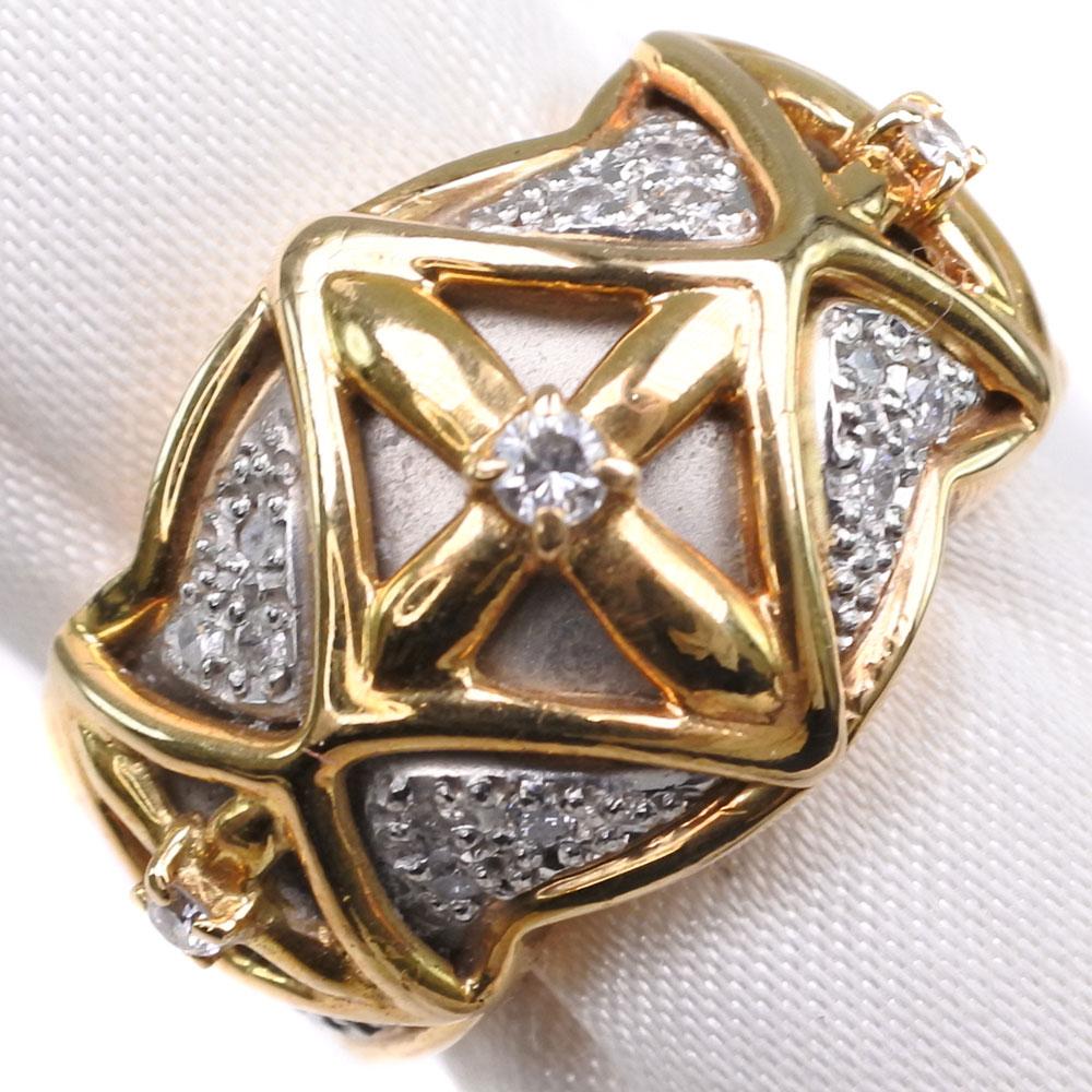 K18ゴールド×Pt900プラチナ 11.5号 D 0.22刻印 レディース リング・指輪【中古】Aランク