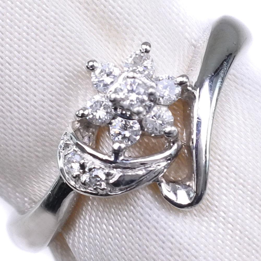 Pt900プラチナ×ダイヤモンド 12号 D 0.15刻印 レディース リング・指輪【中古】SAランク