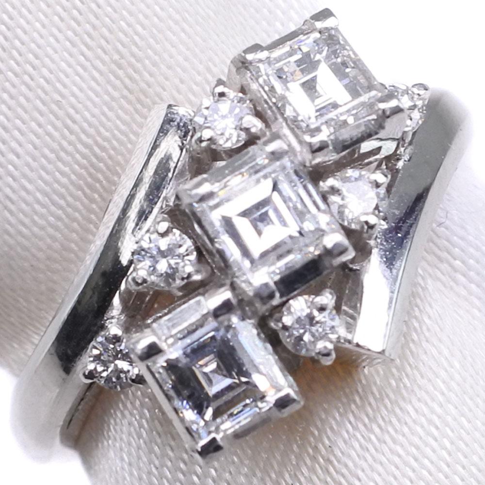 ダイヤモンド Pt900プラチナ 9号 0.50/0.12刻印 レディース リング・指輪【中古】SAランク