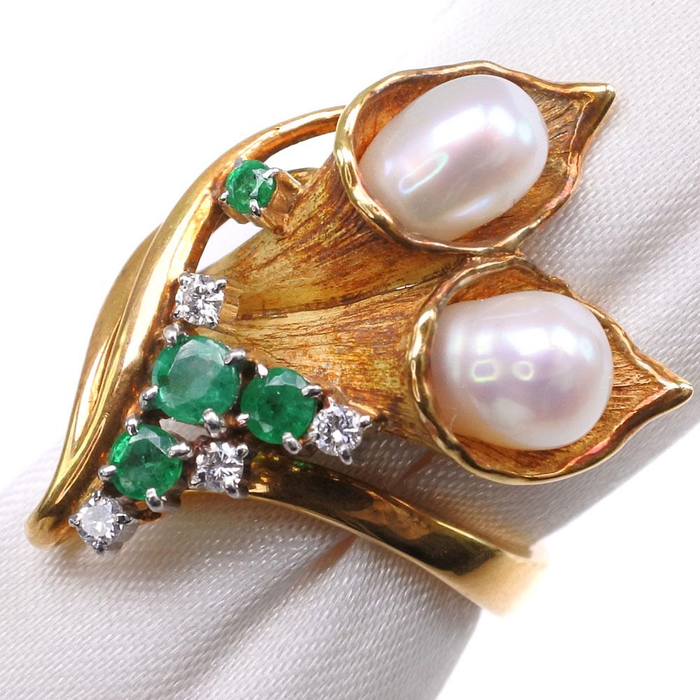 真珠 エメラルド ダイヤモンド パール×K18イエローゴールド 8号 レディース リング・指輪【中古】SAランク
