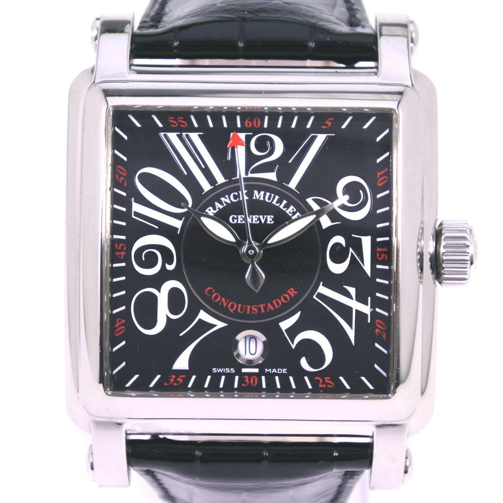 【FRANCK MULLER】フランクミュラー コルテス 10000HSC ステンレススチール×レザー ホワイト 自動巻き メンズ 黒文字盤 腕時計【中古】A-ランク